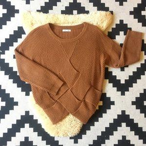 Toffee Crisscross Knit Sweater
